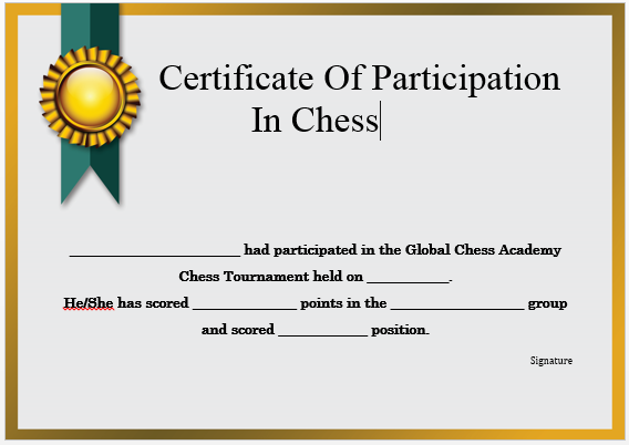 Chess Tournament Participation Certificate