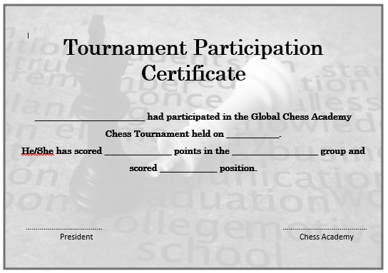 Chess Tournament Participation Certificate 2