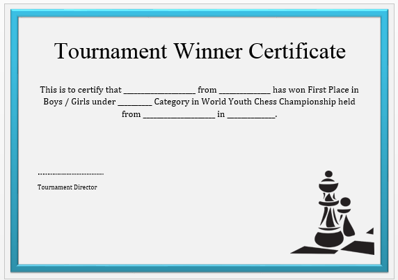 Chess Tournament Winner Certificate