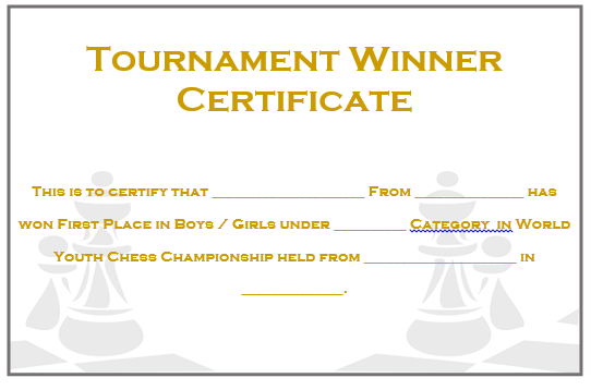 Chess Tournament Winner Certificate 2