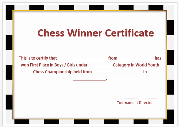 Chess Winner Certificate
