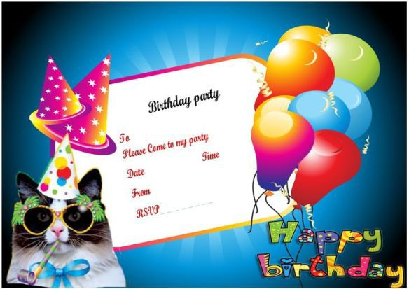 cute cat birthday invitation template