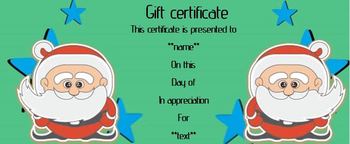 Gift certificate from santa