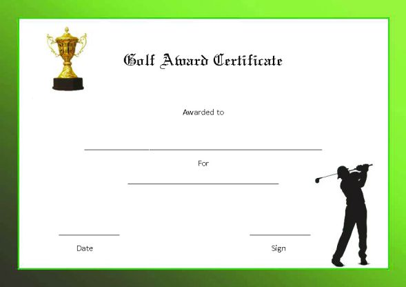 Golf Award Certificate Template