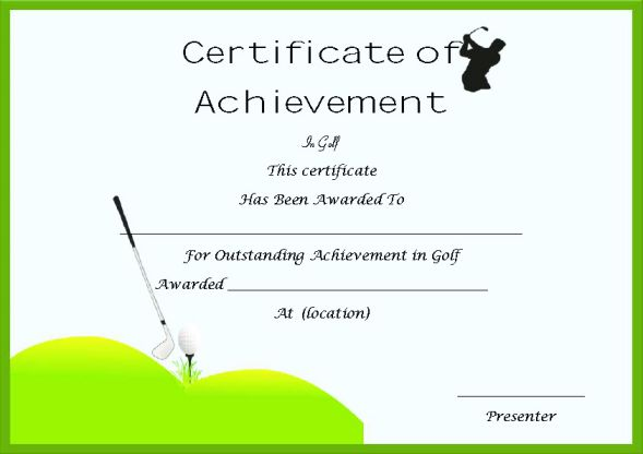 Golf Certificate Of Achievement