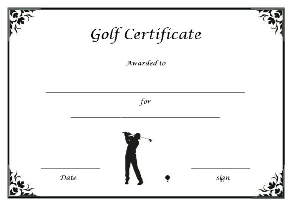 Golf Certificate Template
