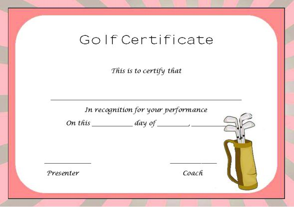 Golf Certificate Template For Word
