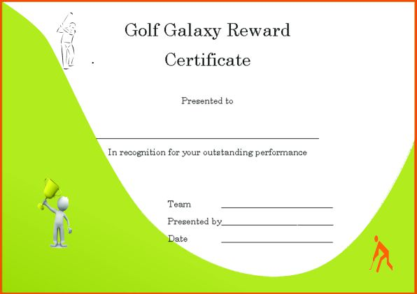 Golf Galaxy Reward Certificate