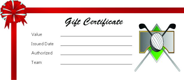 Golf Gift Certificate Template Word