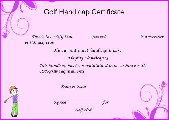 Golf Handicap Certificate Template