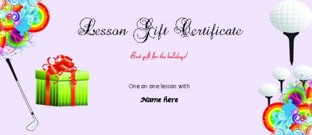 Golf Lesson Gift Certificate Template Free