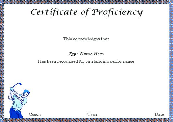 Golf Proficiency Certificate