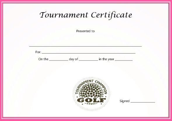 Golf Tournament Certificate Template