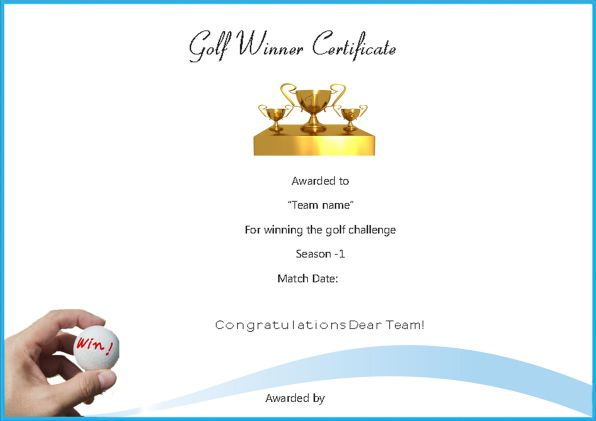 Golf Winner Certificate Template