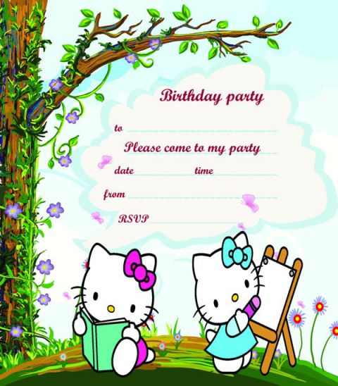 hello kitty birthday party invitation design template