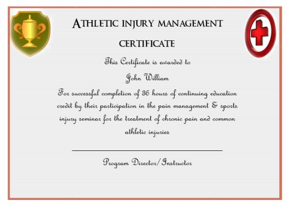 Athletic Injury Management Certificate