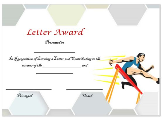 Athletic Letter Certificate