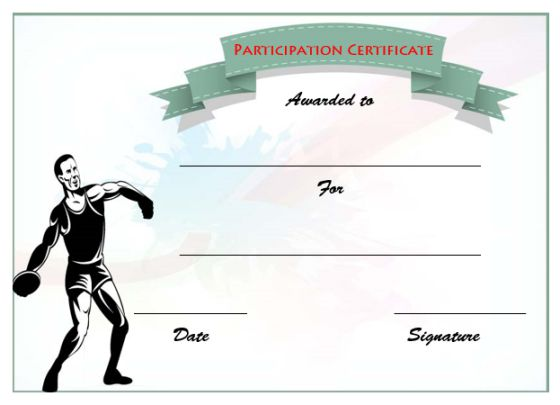 Athletic Participation Certificate Template
