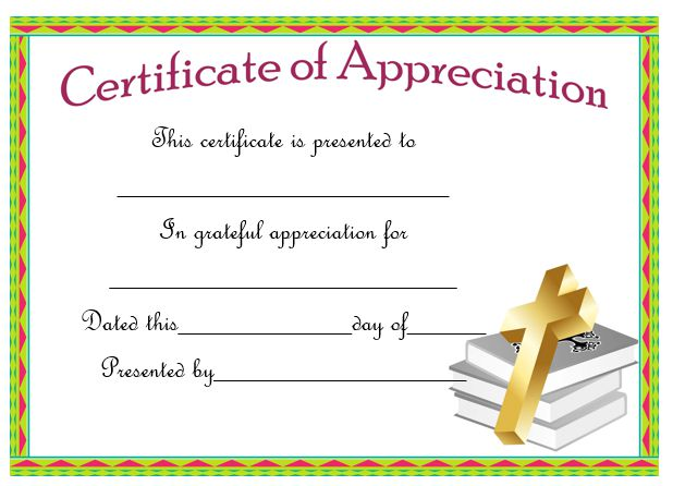 Certificate Of Appreciation For A Pastor
