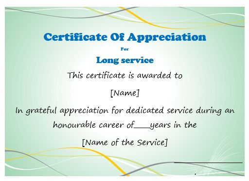 Certificate Of Appreciation For Long Service Template