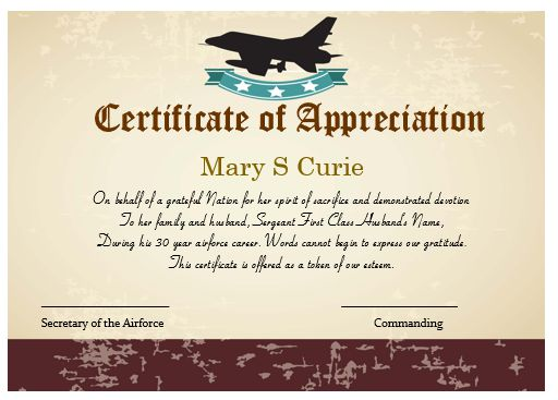 Certificate Of Appreciation Template Airforce