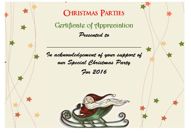 Certificate Of Appreciation Template Christmas