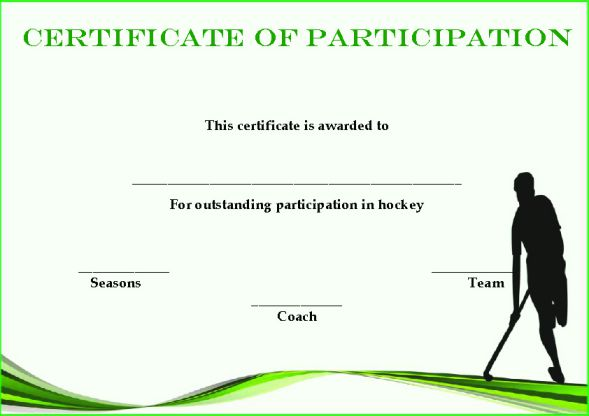 Hockey Participation Certificate