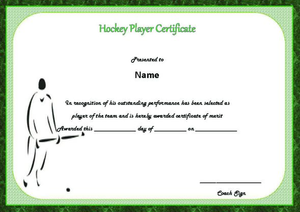 Hockey Player Of The Game Certificate