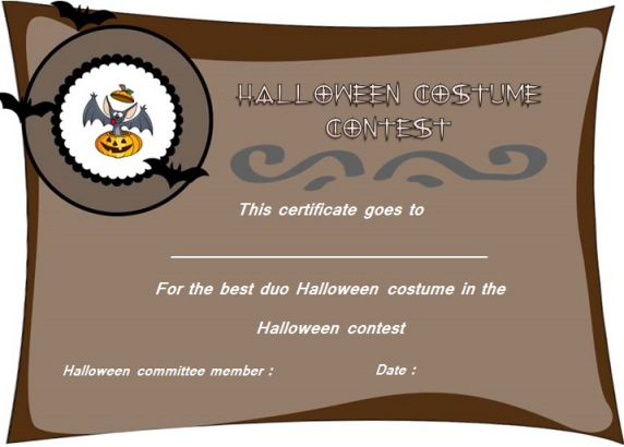 Best Duo Halloween Costume Certificate