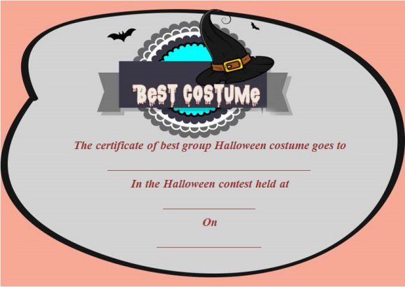 Best Group Halloween Costume Certificate