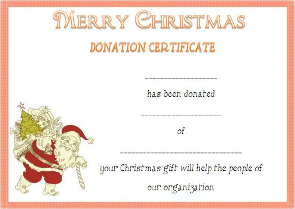 Christmas Donation Certificate Template