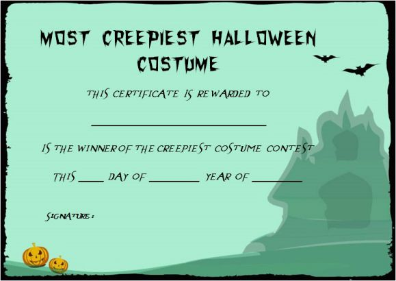 Creepiest Halloween Costume Certificate Template