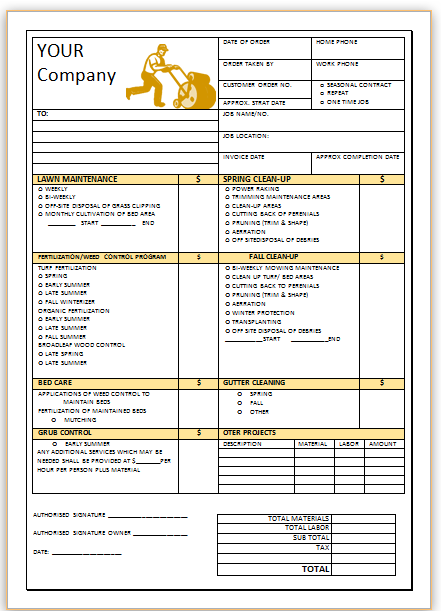 Landscaping Invoice Template 2