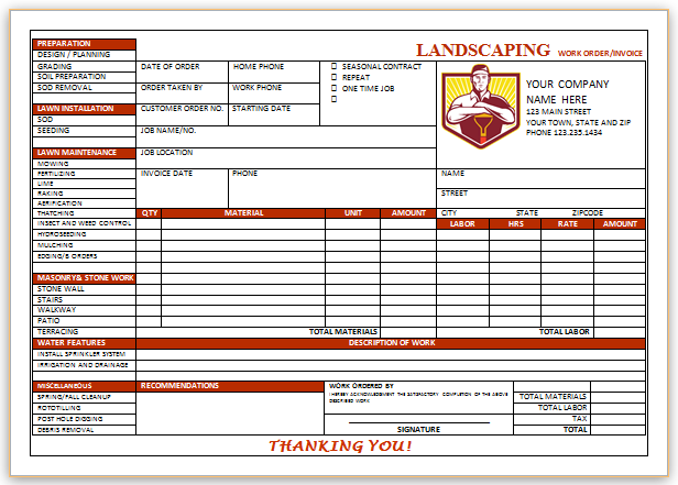 Landscaping Invoice Template 4