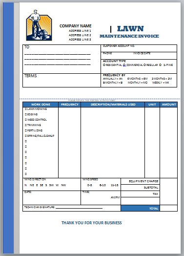 Landscaping Invoice Template 5