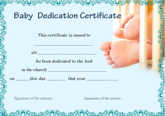 baby dedication certificate for godparents