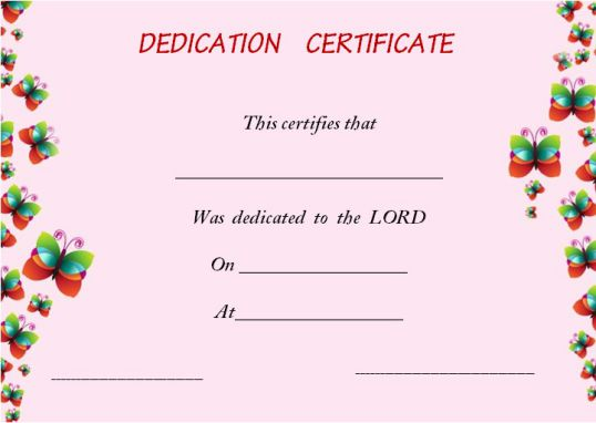 baby dedication certificates for single parents