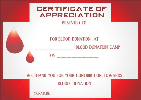 Blood Donation Certificate Template