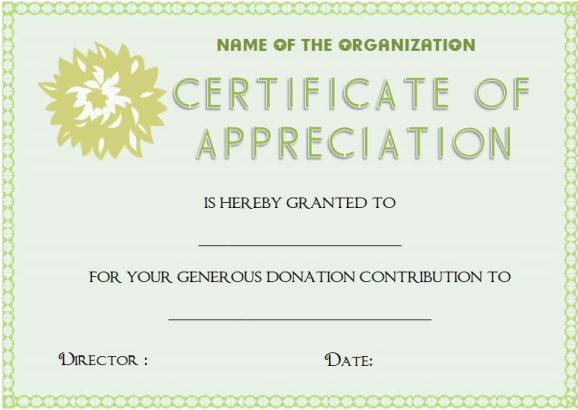Certificate Of Appreciation For Donation Template
