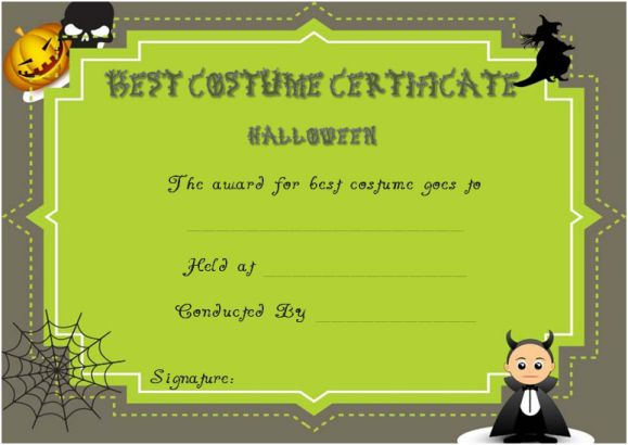 Certificate Of Appreciation For Halloween Costume