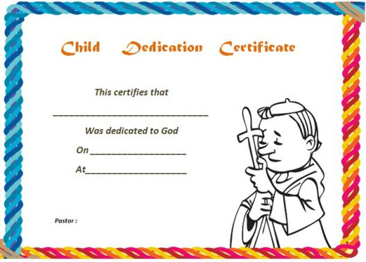 christian baby dedication certificate template