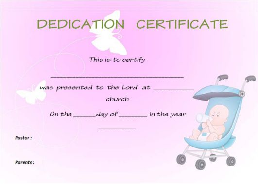 christian baby dedication certificate template 1