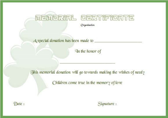 Donation In Memory Of Certificate Template