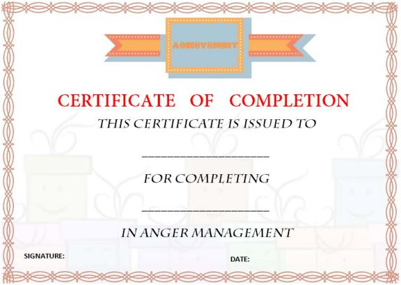 free_anger_management_certificate_of_completion_template