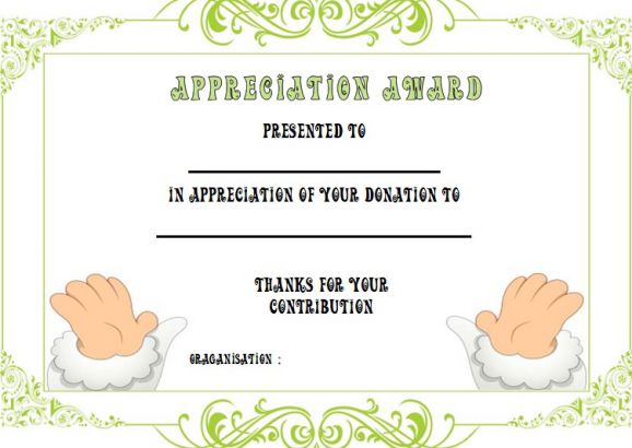 Gift Certificate Template For Donation