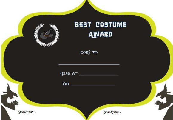 Halloween Costume Award Categories certificate