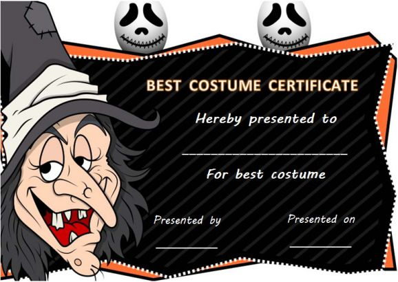 Halloween Costume Contest Certificate Template