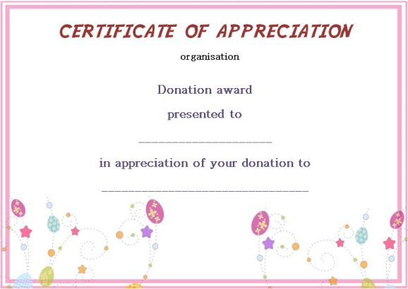 Silent Auction Donation Certificate Template