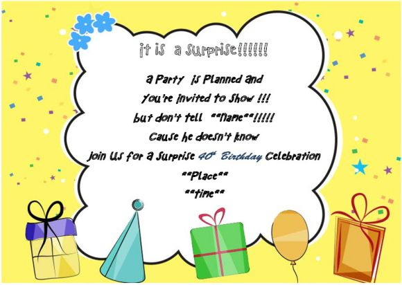 40th Surprise Birthday Party Invitation For Him