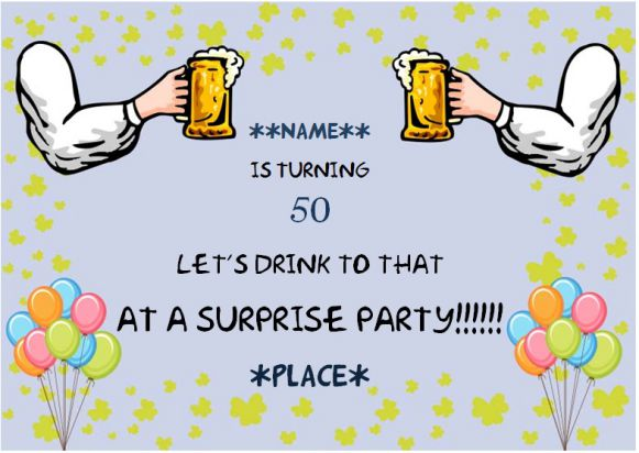50th surprise birthday party invitation for him